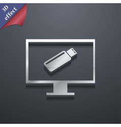 Usb flash drive and monitor icon symbol 3d style vector