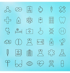 Medical line health care icons set vector
