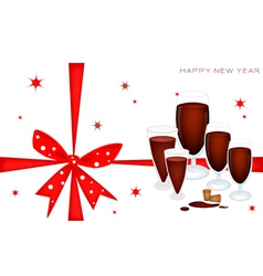 New year gift card with wine dinner vector