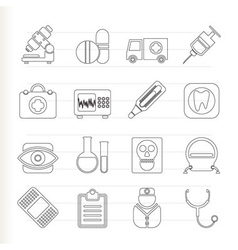 Medical and health care icons vector