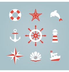 Sea icon collection isolated on a blue background vector