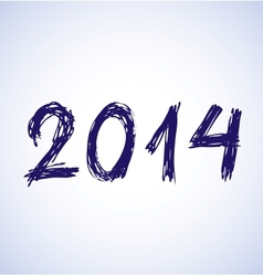 Blue new year 2014 in sketch style vector