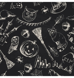 Vintage hand drawn halloween seamless background vector
