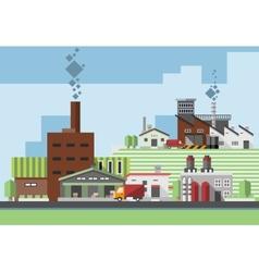 Industrial buildings flat vector