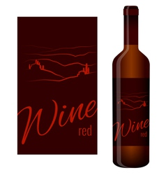 Wine label and bottle of wine vector