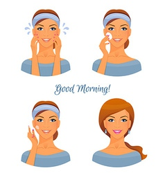 Morning treatments for skin vector