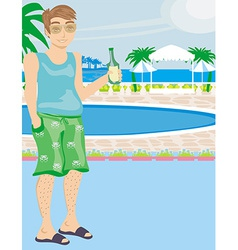 Tourist drinking beer by the pool vector