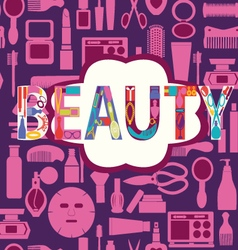 Beauty pattern makeup cosmetic and beauty vector