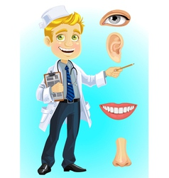 Cute blond doctor indicating on part of the face vector