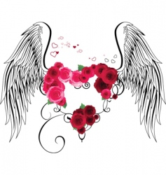 Heart with roses and wings vector