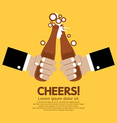 Cheering of two bottles beer vector