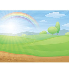 Kids cartoon landscape with rainbow vector