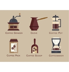 Flat modern icons for coffee shop vector