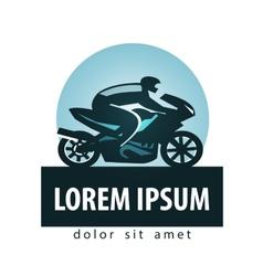 Motorcycle racer logo design template vector