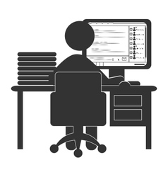 Flat office computer icon with chat isolated on vector