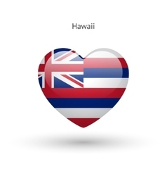 Love hawaii state symbol heart flag icon vector