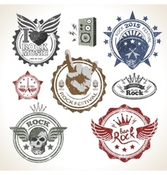Rock festival stamps vector