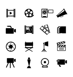Simple black and white video icon set vector