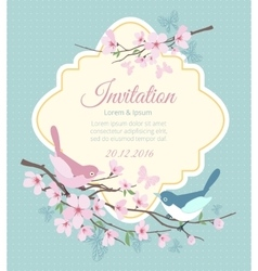 Wedding invitation with birds and flowering vector