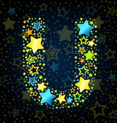 Letter u cartoon star colored vector