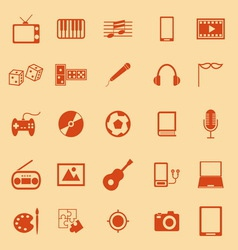 Entertainment color icons on orange background vector