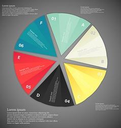 Six paper pieces infographic dark vector