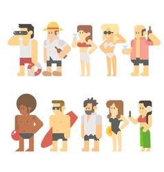 Flat design of beach people vector