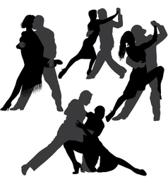 Couple dancing tango silhouette set vector