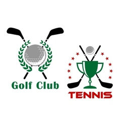 Golf club heraldic logo or emblems vector