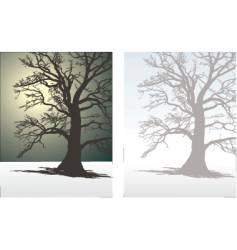 Tree in winter fog vector