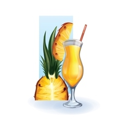 Pineapple in goblet of juice cocktail smoothie vector