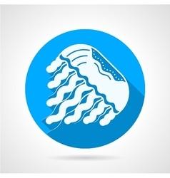Jellyfish flat blue round icon vector