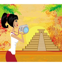Tourist photographs mayan pyramid vector