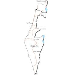 Israel black white map vector