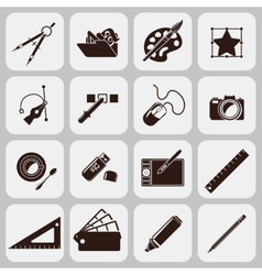 Designer tools black icons vector