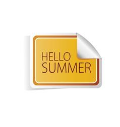 Hello summer sticker color vector