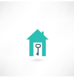 House with a key icon vector