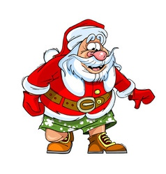 Cartoon caricature of santa claus in shorts vector