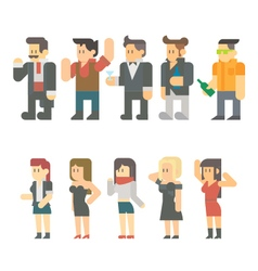 Flat design of party people set vector