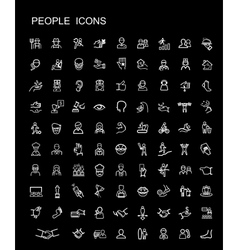 Black people icons set vector