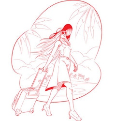 Sketch of woman tourist travelling with beach vector