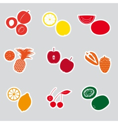 Color fruits and half fruits stickers eps10 vector