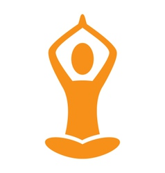 Orange emblem yoga pose isolated on white vector