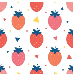Fun strawberries seamless pattern vector