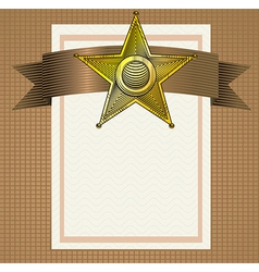 Backround with sheriff badge in engraving style vector