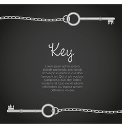 Old keys with link chain black background with tex vector