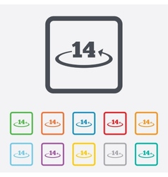 Return of goods within 14 days sign icon vector