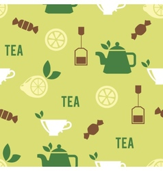 Tea time concept in seamless pattern vector
