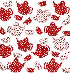 Seamless with red and white kettles and tea cups vector