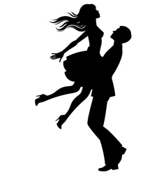 Silhouette of couple in love vector
